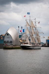 Tall ship Belem transits the Thames Barrier bound for home