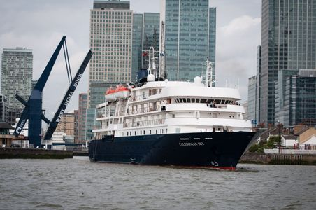 Cruise Ship Caledonian Sky leaving the West India Dock on Monday morning