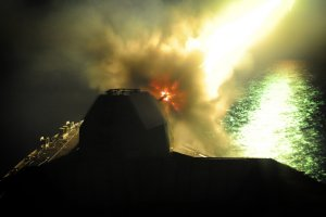 HMS Sutherland firing in operations off Libya