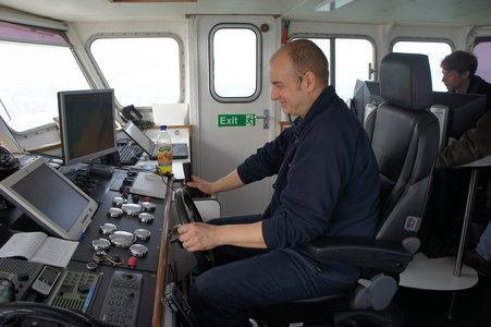 PLA's Paul Cowderoy sets a course for the wreck site