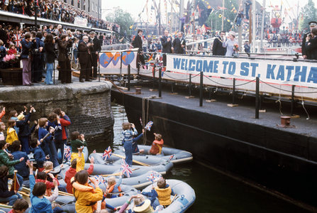 A rousing welcome for Queen Elizabeth II at St Katharine's Dock near the Tower of London, one of the stops on her Silver Jubilee river progress from Greenwich to Lambeth. (AP Photo by kind permission of the Press Association)