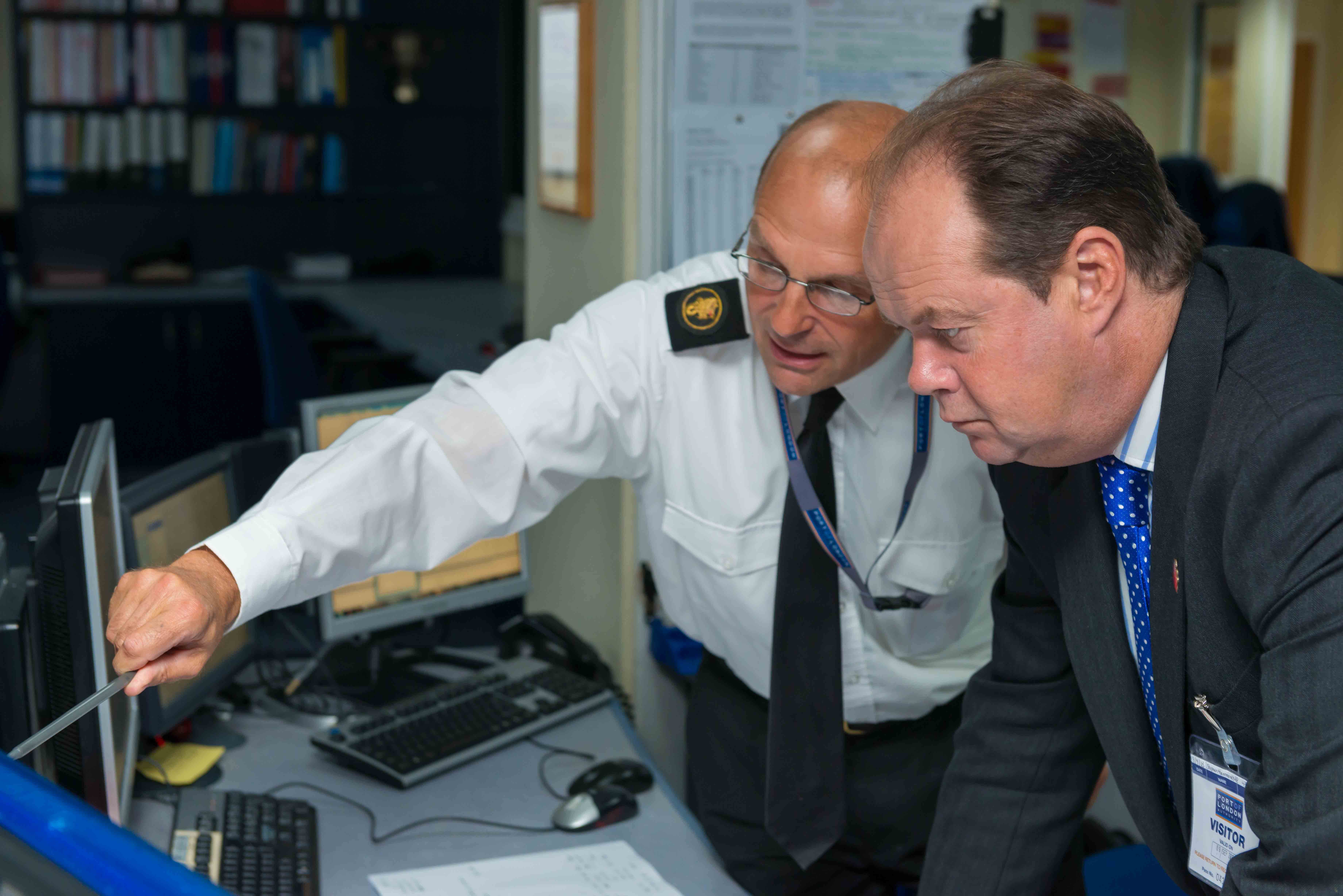 Photo of port controller Dudley Curtis and Shipping Minister Stephen Hammond