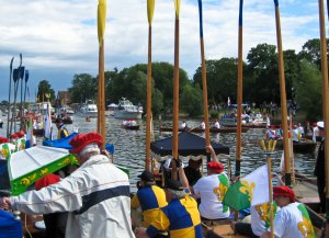 The Flotilla arrives at Hampton Court Palace