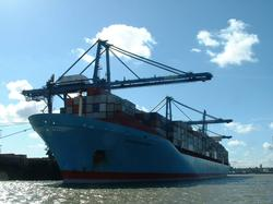 The Sovereign Maersk, one of the world's largest ships, in the Port of London