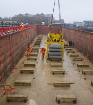 Concrete segments loaded onto barges at Chatham factory