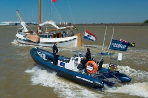 PLA acting Marine River Inspector Glynn Luxton and deckhand, Peter Love, on the RIB, Gunfleet