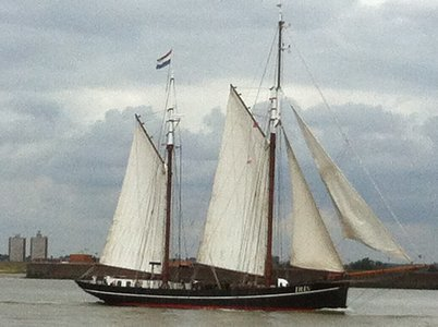 Another sail Greenwich vessel, Iris, leaving under sail