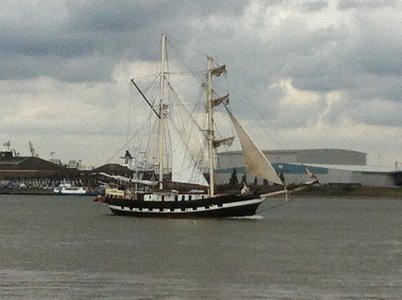 Under sail, Lady of Aranel, another Sail Greenwich vessel leaves