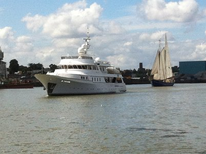 Superyacht Mary Jean off Gravesend with sail Greenwich vessel Zephyr in the background