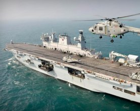 HMS Ocean on the Thames for the Olympics