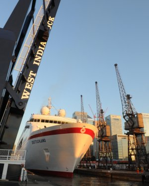Cruise Ship Deutschland in the West India Dock (click on image to enlarge)