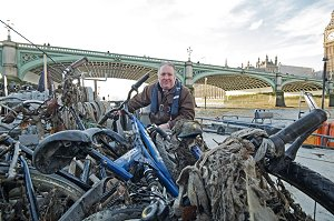 Mike Penning with abandoned bikes