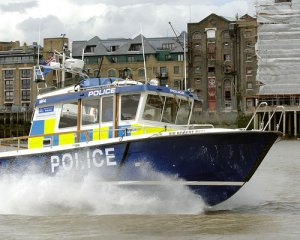 A Police launch in central London