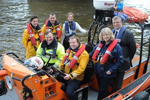PLA's Alan Cartwright with RNLI personnel