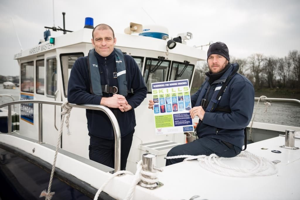 Port of London boat crew launch safety initiative for Tideway rowing coaches