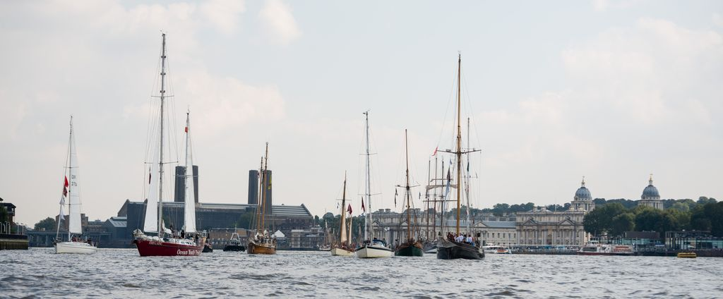 Ships heading upriver past Greenwich Pier to gather for the Parade of Sail